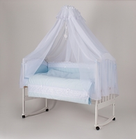 """Набор  постельного белья  """"Мамина Ласка Ажур """" (Премиум) голубая точка"""